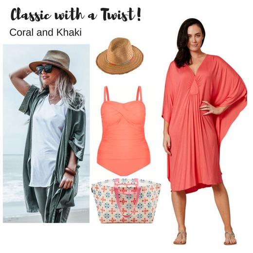 Classic with a Twist - Coral + Khaki