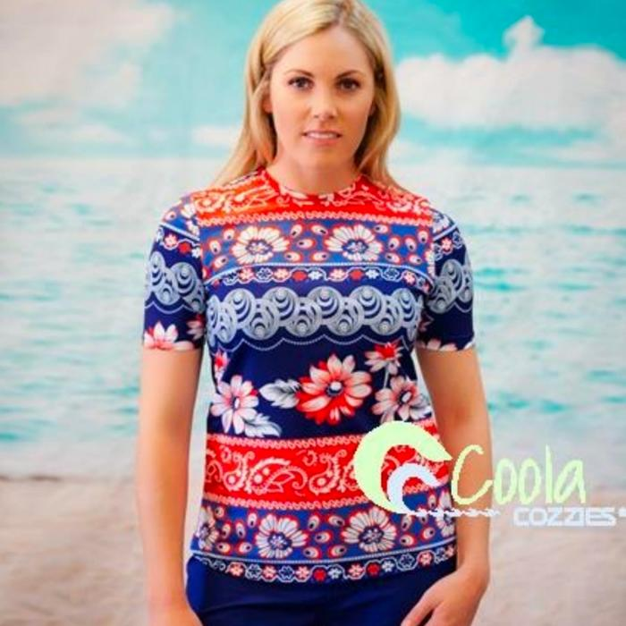 79b7b650df A great red whit and blue short sleeve rashie for women | Online at ...