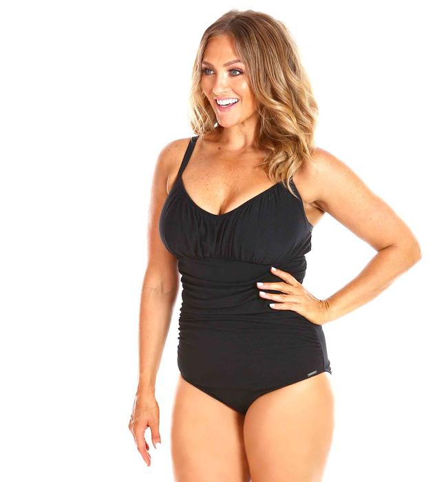 518fe9d221c Honeycomb Black Underwire Ruched Onepiece F-G Cup