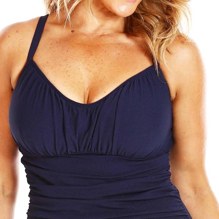 74bb361c324 Honeycomb Navy Underwire Ruched Tankini Top F-G Cups