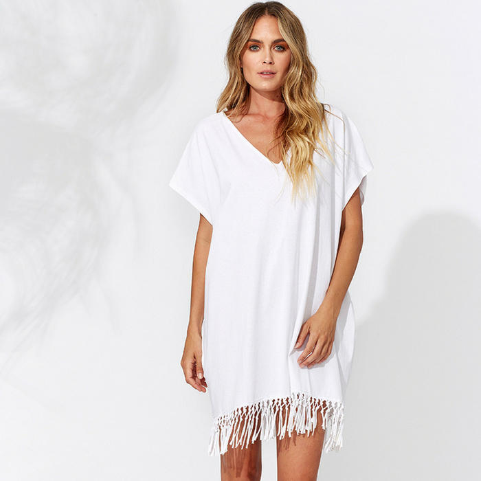 9dfcdb0bd261 Easy wear white cotton fringed kaftan for the beach and your resort ...