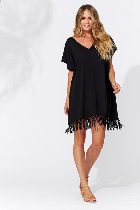 cec8ded867c9 This black fringed kaftan dress is simply lovely and a great price ...