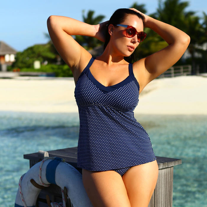 05b82d793abd3 Timeless Navy   White Spotty Tankini Top with Underwire. Online at ...
