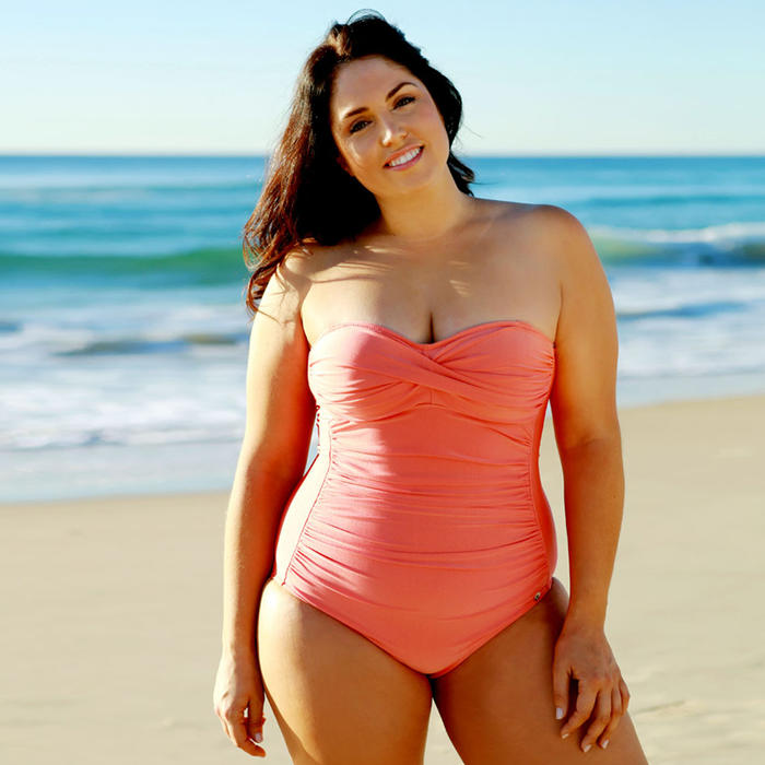 A Figure Flattering Onepiece in Coral for a Curvy Shape ...