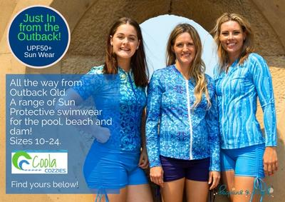 Introducing Coola Cozzies - Sun Protective Rashies & Swim Shorts for Women from outback Qld!
