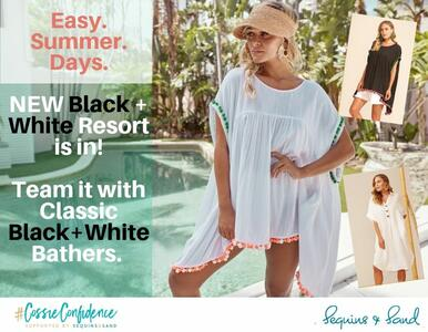 NEW Black and White Resortwear is in! Team them with Black &/or White Bathers for an easy-peasy summer break.