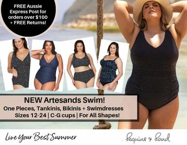 Welcome Artesand Swimwear! NEW size 12-24 swimsuits in C-G cups too!