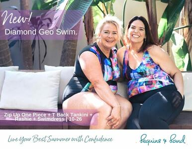 Love colour? Then you MUST check out the NEW Diamond Geo Swimwear. Plus Sizes too (of course).