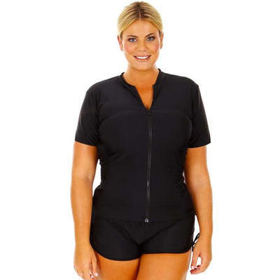 [Capriosca Swimwear Black Short Sleeve Zip Front Rash Vest]
