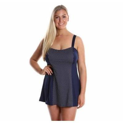 [Wide Strap Chlorine Resistant Swim Dress in Navy Dots]