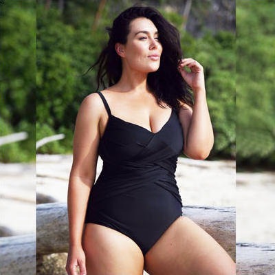 [Capriosca Swimwear Criss Cross One Piece in Black]