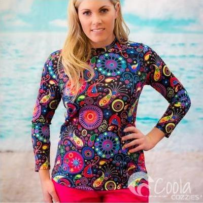 [Coola Cozzies Pull On Rashie for Women in Fireworks Print]