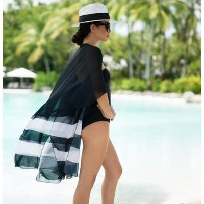 [CAPE CAPRI St Tropez Black and White Cape]