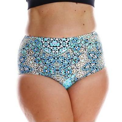 [Aqua Mosaic High Waisted Bikini Pant by Capriosca Swimwear]