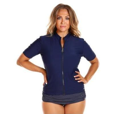 [Capriosca Swimwear Short Sleeve Rash Vest in Navy]