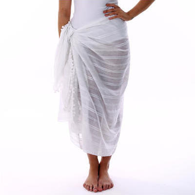 [Jam Jam Large Cotton Sarong in White]