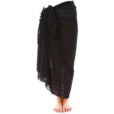 [Jam Jam Large Cotton Sarong in Black]