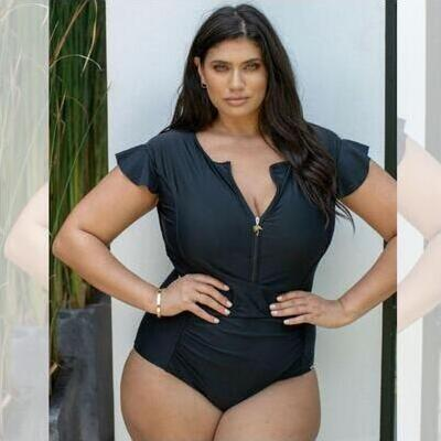 [Capriosca Swimwear Zip Front One Piece in Black]