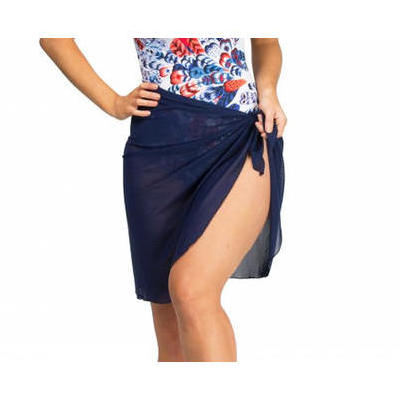 [Capriosca Swimwear Navy Mesh Wrap Skirt - Long]