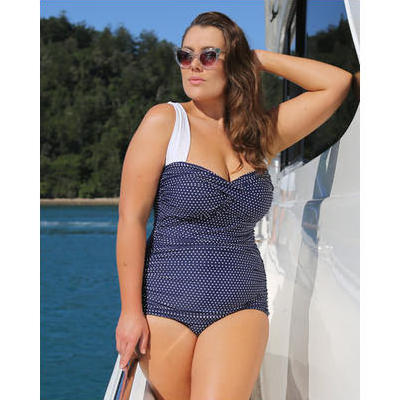 [Capriosca Swimwear Navy and White Dots Retro One Piece Swimsuit]