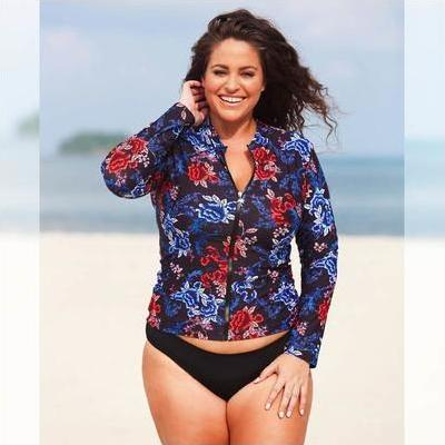[Long Sleeve Rash Shirt in Embroidered Roses by Capriosca Swimwear]