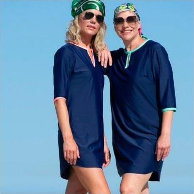 [A Line Rashie Beach Dress in Navy]