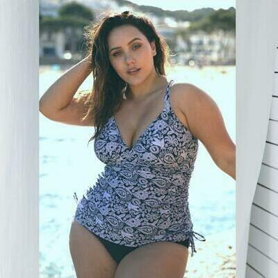 [Side Ruched One Piece in Raj Print by Capriosca Swimwear]