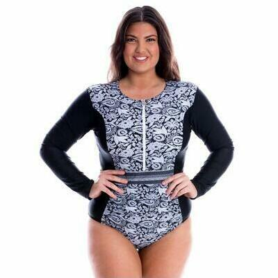 [Long Sleeve Zip Front One Piece in Raj Print]