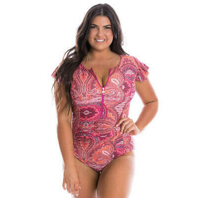 [Zip Up Frill Sleeve One Piece Swimsuit in Bohemian Sunset]