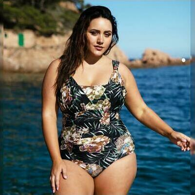 [Over the Shoulder One Piece in Black Blossom by Curvy Swimwear]