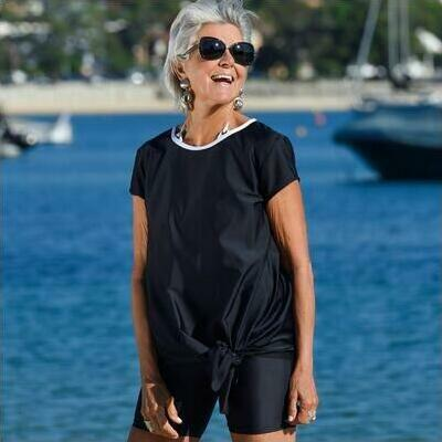 [Sun Safe Knot Top in Black with White Trim]