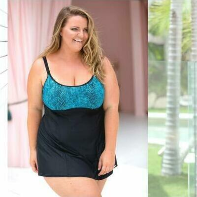 [Underwire Swimdress in Turquoise Snake and Plus Sizes too]