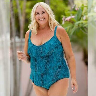 [3 Tier One Piece in Turquoise Snake and Plus Sizes]