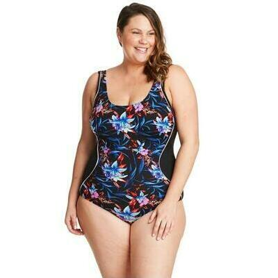 [Mystic Hibiscus Spliced Floral One Piece]
