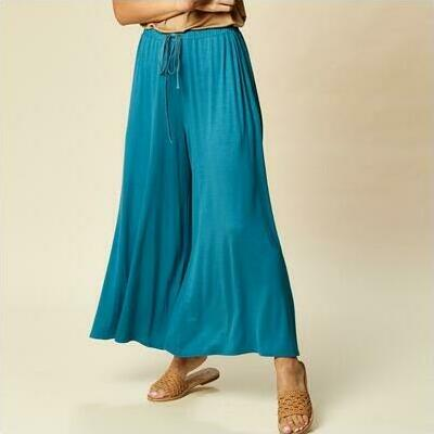[Wide Leg Sorella Pant in Cyan Blue]