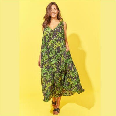 [Haven Paradise Maxi in Black Palm]