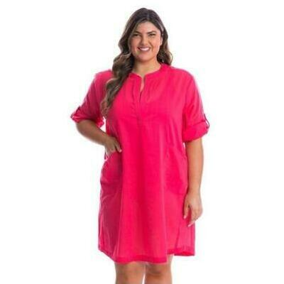 [Coral Cotton Overshirt Beach Dress]