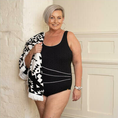 [Piped Stripe Black and White One Piece - Post Mastectomy]