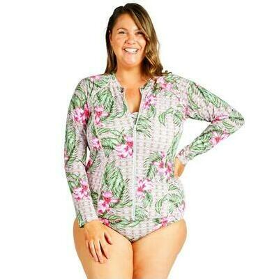 [Zip Up Rash Vest in Deco Orchid - Chlorine Resistant and Post Mastectomy]