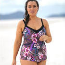 [Curvy Swimwear Underwire Tankini Top in Hawaiian Orchid - $95.00]