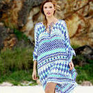 [Full Moon Kaftan Dress in Ikat Blue - $115.00]