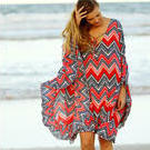 [Full Moon Kaftan Dress in Zig Zag Red - $115.00]