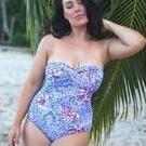 [Curvy Swimwear Bandeau One Piece in Garden Party - $90.00]