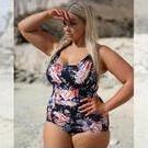 [Curvy Swimwear Over the Shoulder One Piece in Night Blossom - $149.00]