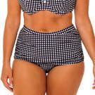 [Capriosca Swimwear Black Retro Check Ruched Bikini Bottom - $49.00]