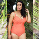 [Capriosca Swimwear Plus Size Criss Cross One Piece Peach - $119.00]