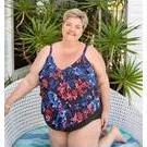[3 Tier Tankini Top in Embroidered Roses by Capriosca Swimwear - $121.00]