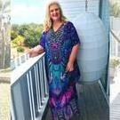 [The Jacqui Long Crystal Kaftan Dress  in Purple - $170.00]