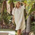 [Haven Martinique Linen Shirt Dress in Sand - $89.95]