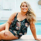 [3 Tier Tankini Top in Black Blossom by Curvy Swimwear - $129.00]